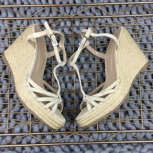 Colin Stuart nude espadrille sandal wedges size 8